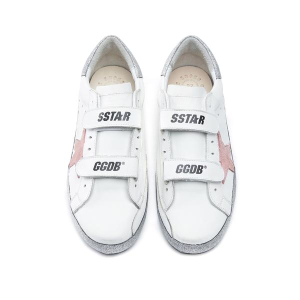 Girls White & Pink Star Leather Shoes