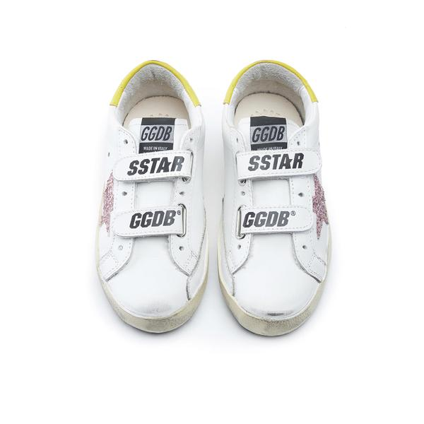 Baby Girls White Glitter Star Leather Shoes