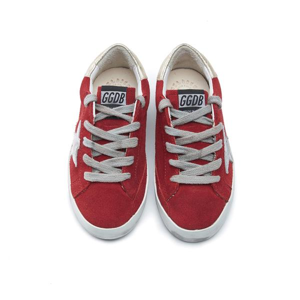Baby Boys & Girls Red & Sliver Star Leather Shoes