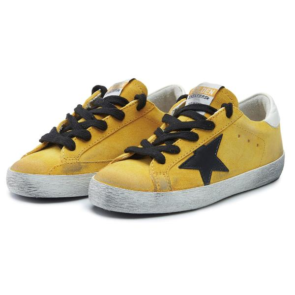 Boys & Girls Yellow & Black Star Leather Shoes