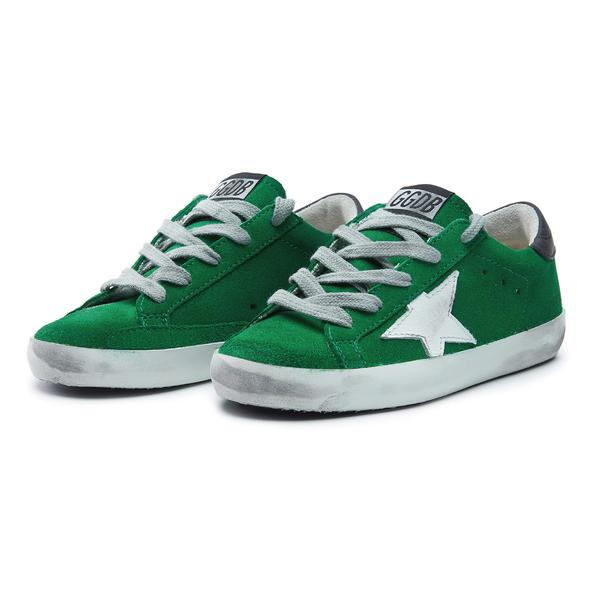 Boys & Girls Green & White Star Leather Shoes