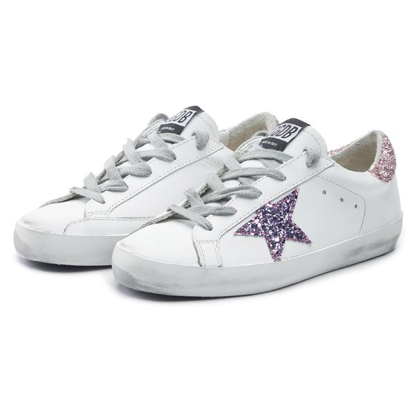 Girls White Glitter Star Leather Shoes