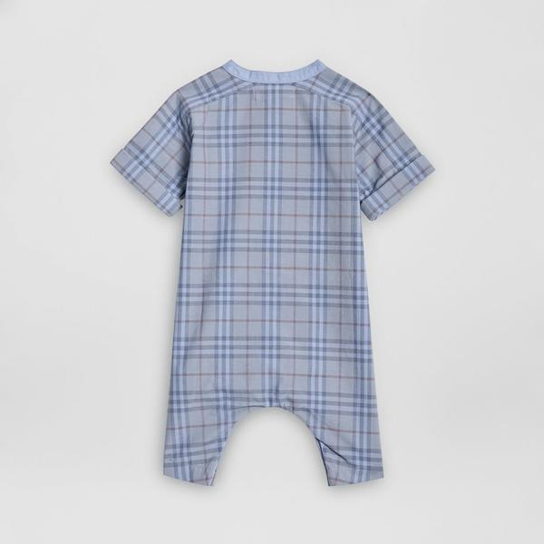 Baby Dusty Blue Check Cotton Babysuit