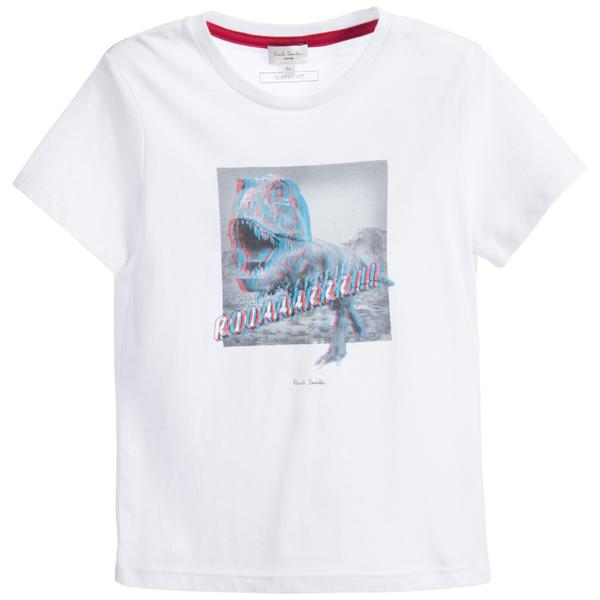 Boys White Cotton Dinosaur Printed TrimsT-Shirt & 3D Glasses - CÉMAROSE | Children's Fashion Store - 1