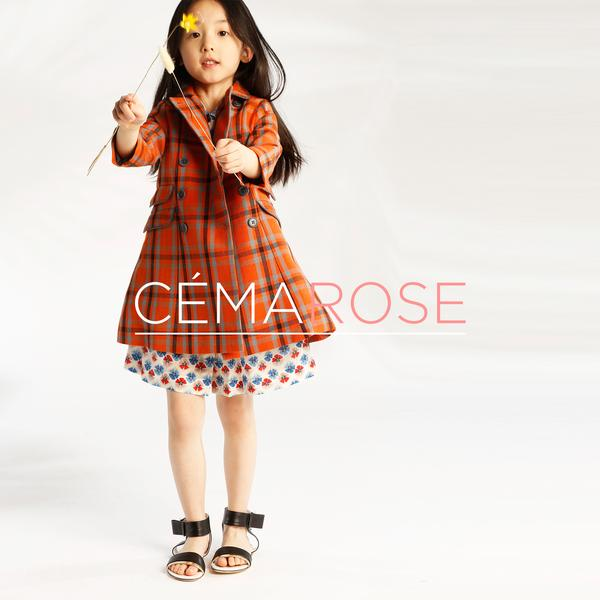 Girls Orange Check Cotton Woven Coat