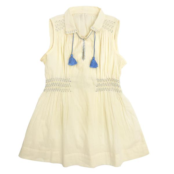Girls Light Yellow Cotton Woven Dress