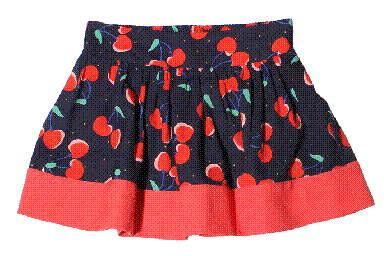 Girls Navy Blue Cherry Printed Trims Skirt - CÉMAROSE | Children's Fashion Store