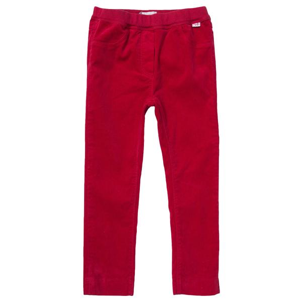 Baby Girls Red Elastic Waistband Velvet Trousers - CÉMAROSE | Children's Fashion Store - 1