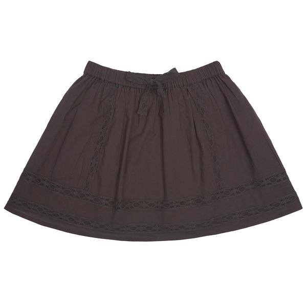 Girls Brown Cotton Skirt
