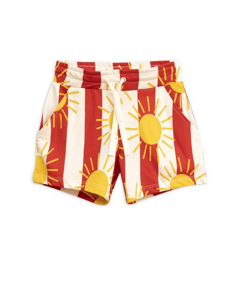 Boys & Girls Red Sun Striped Cotton Shorts