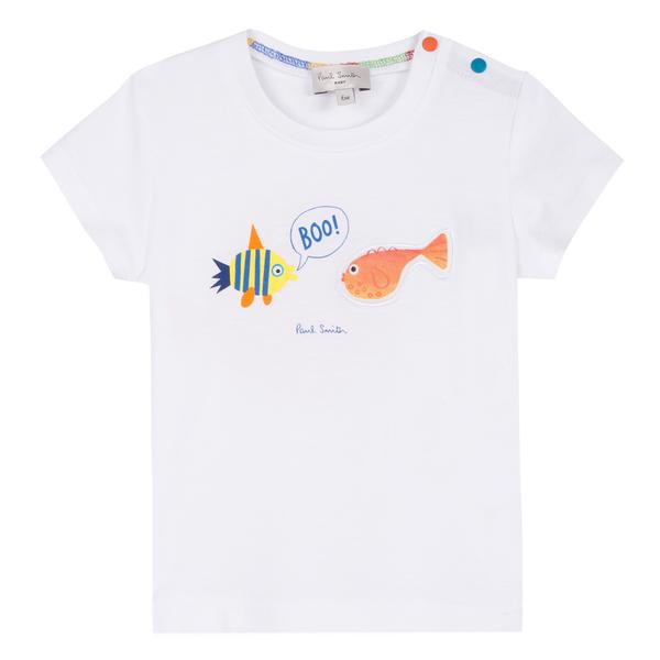Baby Boys White Fish Cotton T-shirt