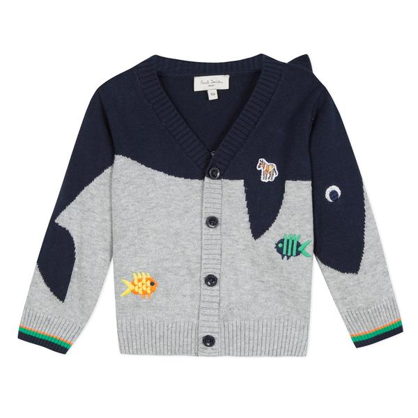 Baby Boys Grey Cotton Cardigan