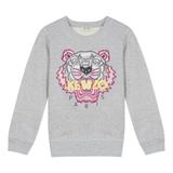 Girls Grey Tiger Cotton Sweatshirt