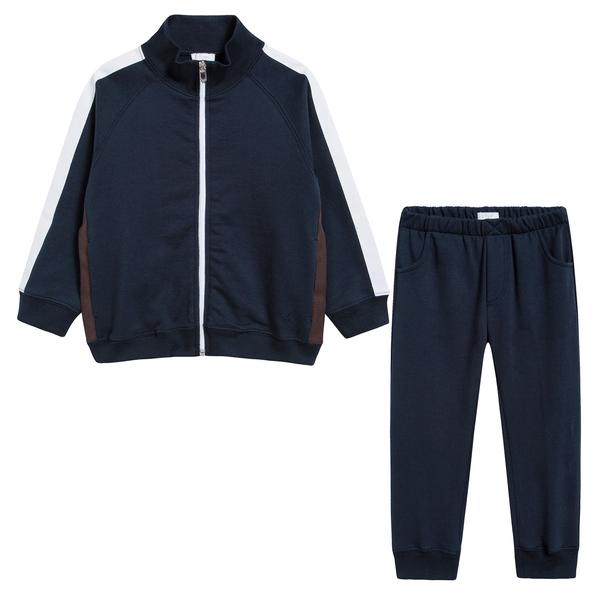 Baby Boys Dark Blue & Cocoa Cotton Two Piece Set