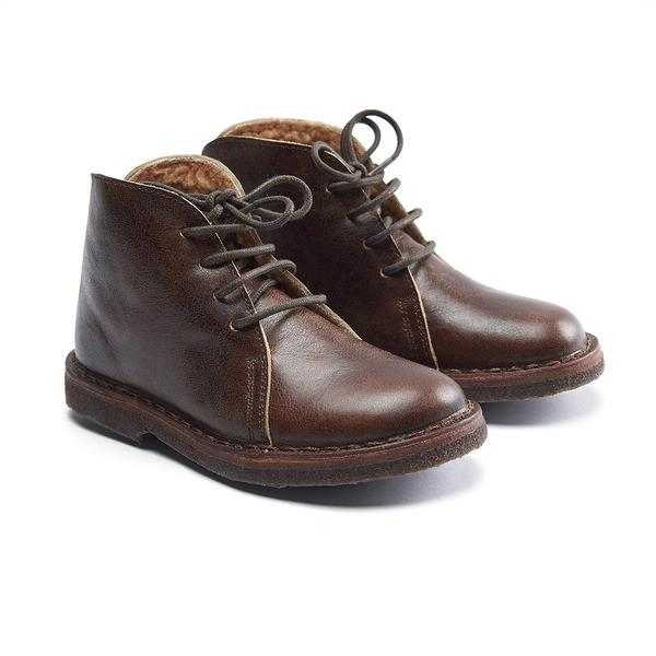 Boys & Girl Dark Brown Leather Shoes