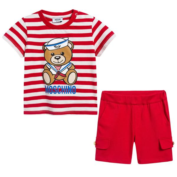 Baby Girls Red Stripes Cotton Set