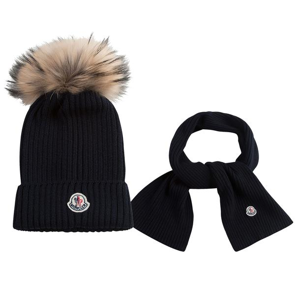 Boys & Girls Navy Blue Plush Trims Knitted Hat & Scarf Sets - CÉMAROSE | Children's Fashion Store - 1