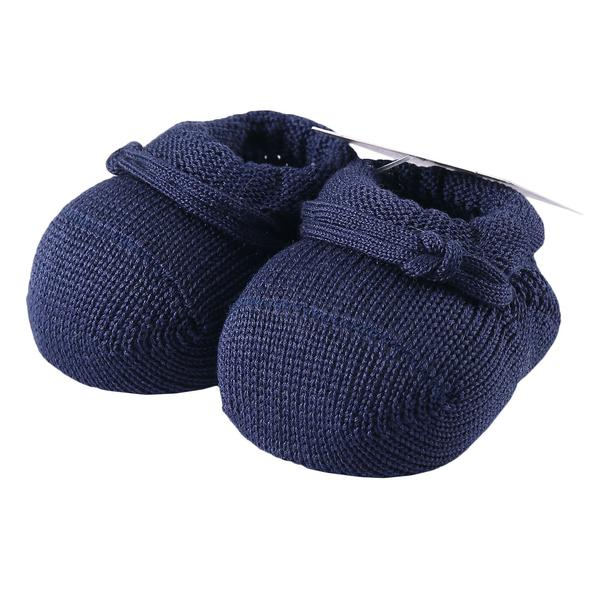Baby Navy Blue Knitted Cotton Shoes - CÉMAROSE | Children's Fashion Store - 1