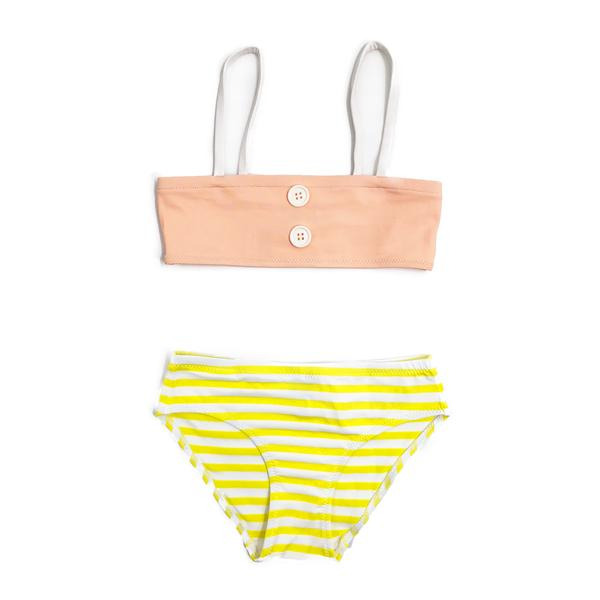 Girls Ray Jaune & Pink Stripes Bikini