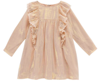Girls Gold Silk Dress