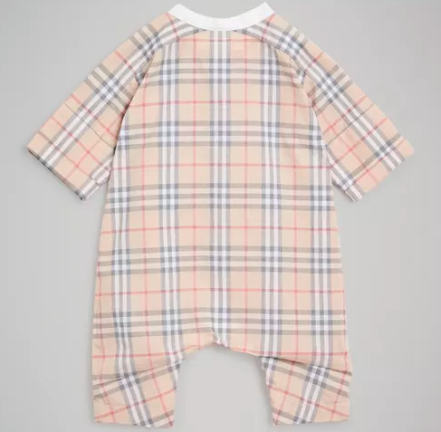 Baby Pale Stone Check Cotton Babysuit