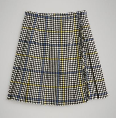 Girls Parchment Check Wool Skirt