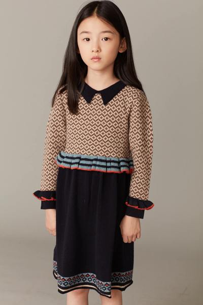 Girls Navy Waist Wool Dress