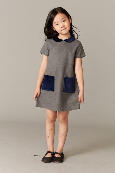 Girls Grey & Blue Collar Dress