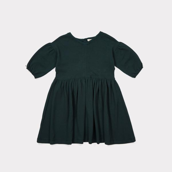 Girls Forest Green Cotton Jersey Dress