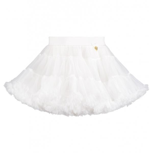 Girls White Nylon Knitted Skirt