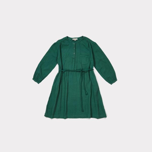 Girls Dark Green Cotton Woven Dress