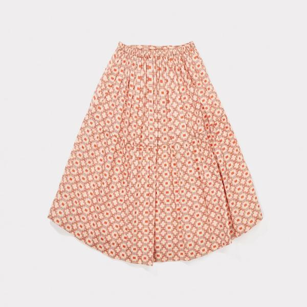 Girls Kaleido Red Cotton Woven Skirt