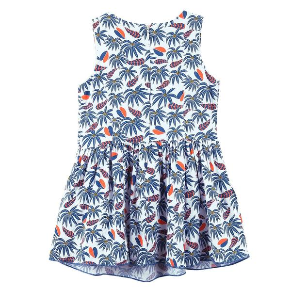 Girls White&Blue Allover Tree Printed Sleeveless Dress - CÉMAROSE | Children's Fashion Store - 2