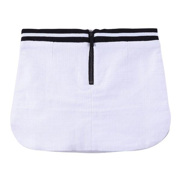 Girls White Elasticity Cotton Skirt With Black Waistband - CÉMAROSE | Children's Fashion Store - 2