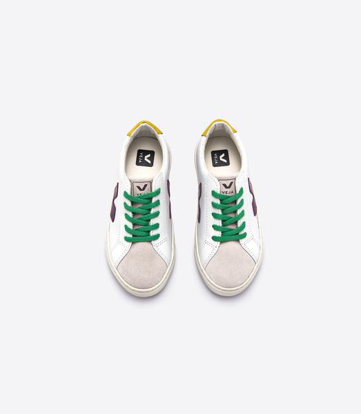 Girls White & Green Leather Shoes