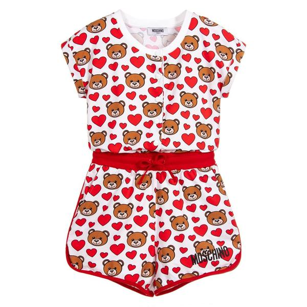 Girls Red Teddy Cotton Overall