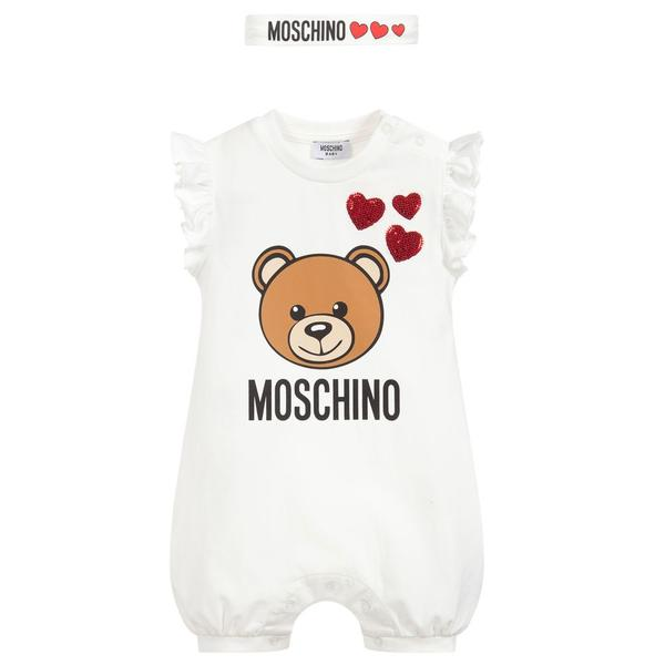 Baby Girls White Teddy Cotton Babysuits