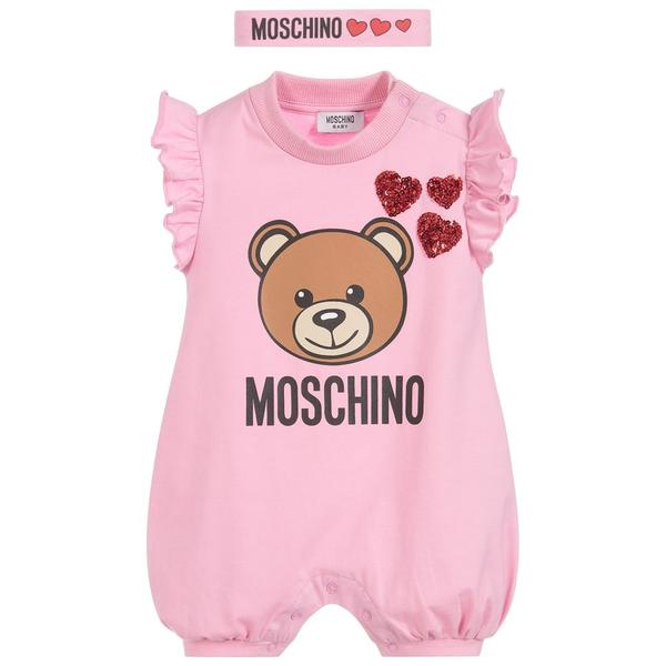 Baby Girls Pink Teddy Cotton Babysuits