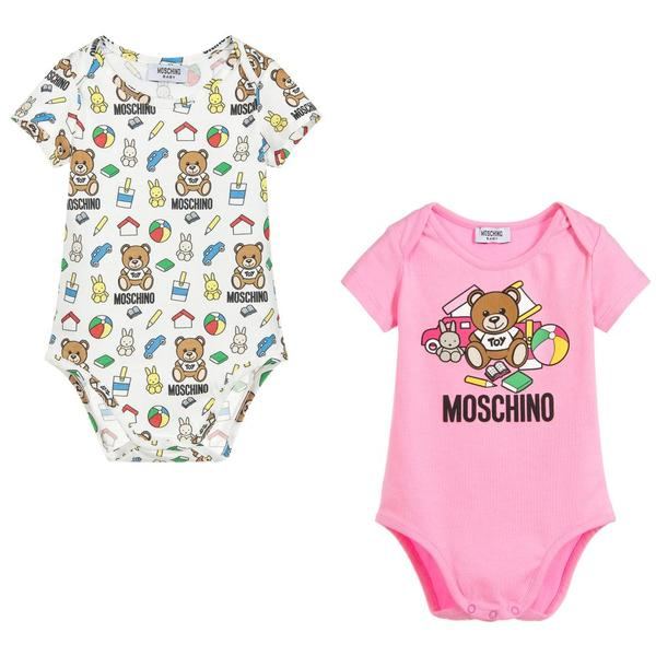 Baby Boys & Girls Pink & Toy Babysuits (2 Pack)