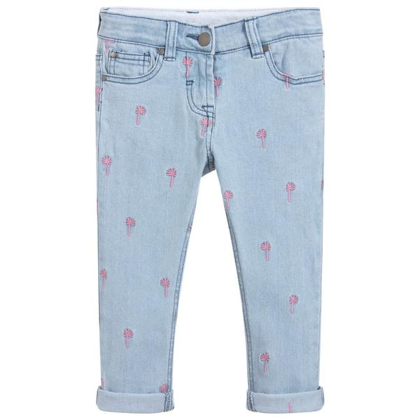 Girls Light Blue Embroidered Denim Trousers