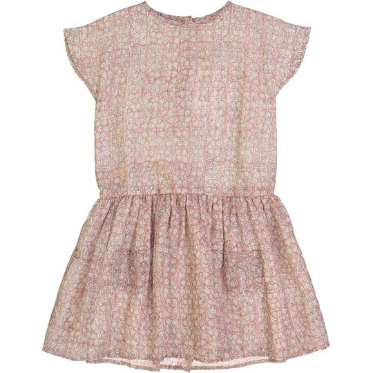 Girls Pink Floral Waist Cotton Dress