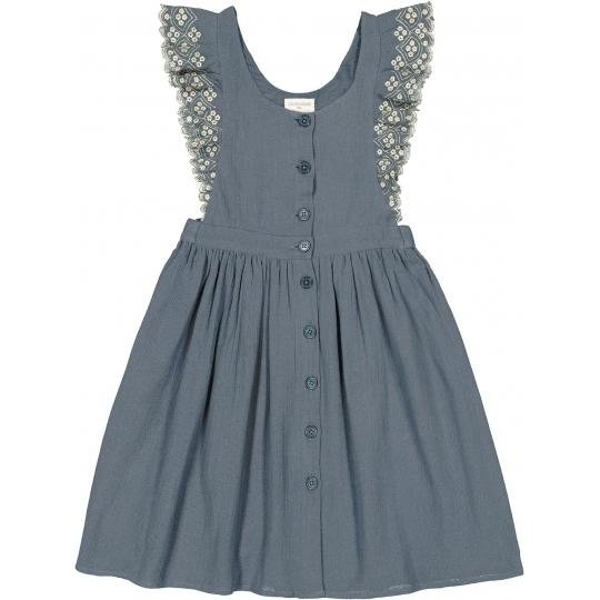 Girls Blue Lace Cotton Dress