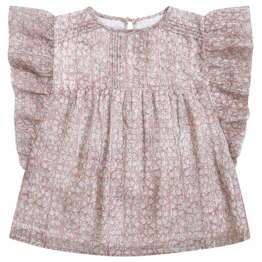 Girls Pink Floral Cotton Blouse