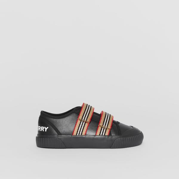 Boys & Girls Black Lconic Striped Leather Sneakers
