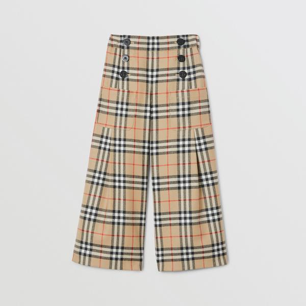 Girls Achive Beige Check Wool Trousers