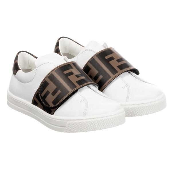 Boys & Girls White FF Logo Leather Shoes