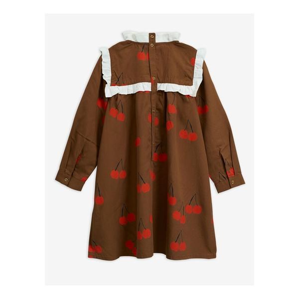 Girls Brown Cherry Frill Tencel Dress