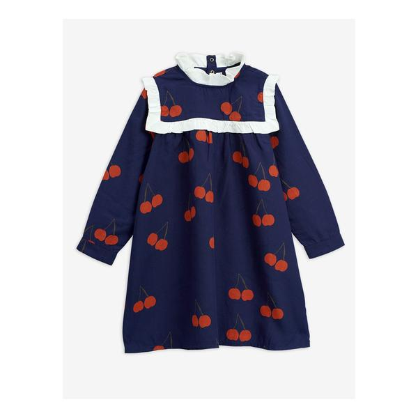 Girls Blue Cherry Frill Tencel Dress