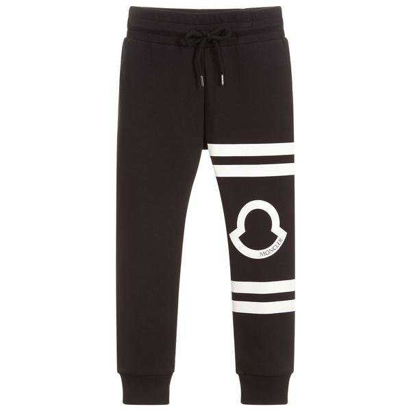 Girls Black Logo Cotton Trousers