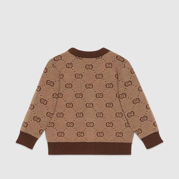 Baby Boys Brown GG Wool Cardigan